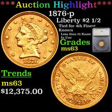 1876-p Gold Liberty Quarter Eagle $2 1/2 Graded