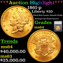 1861-p Gold Liberty Double Eagle $20 Graded ms64