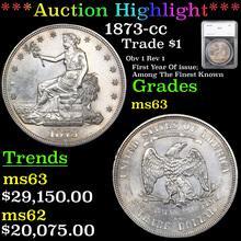 1873-cc Trade Dollar $1 Graded ms63 By SEGS (fc)