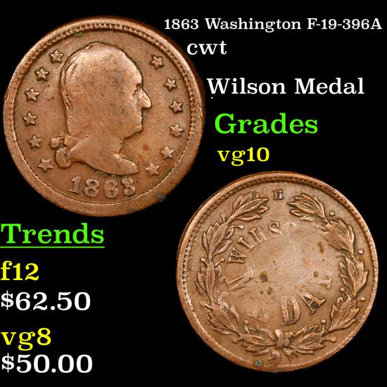 1863 Washington F-19-396A Civil War Token 1c Grades vg+