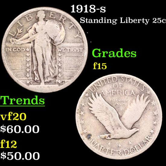 1918-s Standing Liberty Quarter 25c Grades f+.