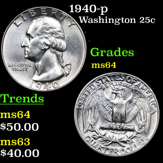 1940-p Washington Quarter 25c Grades Choice Unc