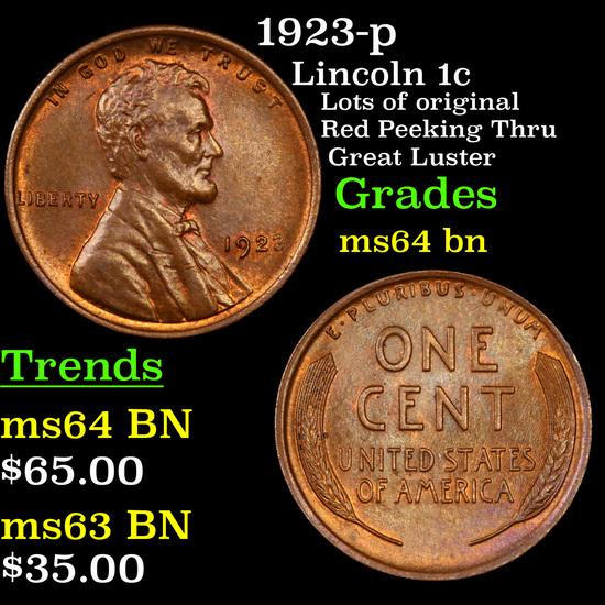 1923-p Lincoln Cent 1c Grades Choice Unc BN