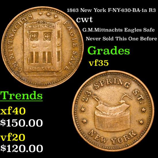 1863 New York F-NY-630-BA-1a R3 Civil War Token 1c Grades vf++
