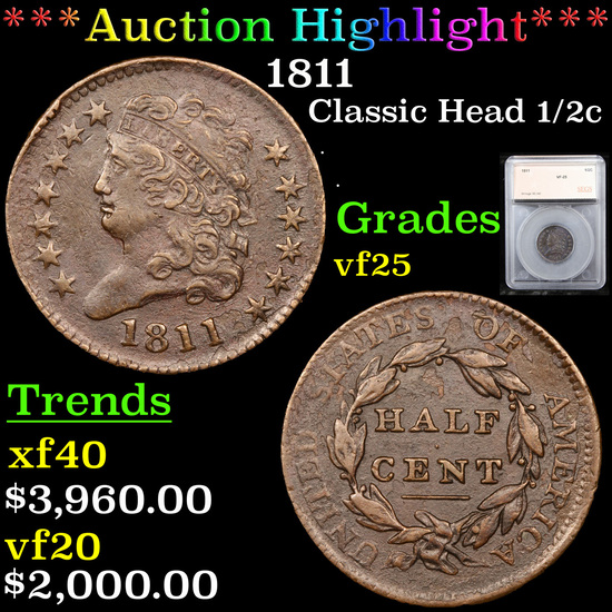 ***Auction Highlight*** 1811 Classic Head Large Half Cent 1/2c Graded vf25 By SEGS (fc)