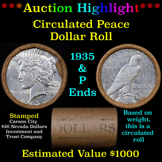 ***Auction Highlight*** Full solid Circulated Peace silver dollar roll, 20 coin 1935 & 'P' Ends (fc