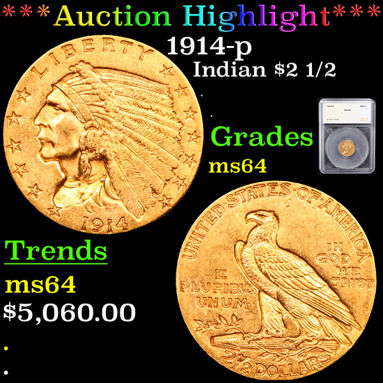 ***Auction Highlight*** 1914-p Gold Indian Quarter Eagle $2 1/2 Graded ms64 By SEGS (fc)