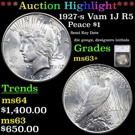 ***Auction Highlight*** 1927-s Vam 1J R5 Peace Dollar $1 Graded ms63+ By SEGS (fc)