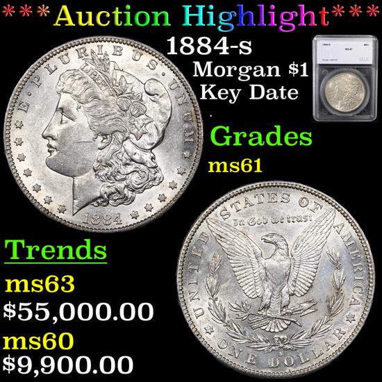 ***Auction Highlight*** 1884-s Morgan Dollar $1 Graded ms61 By SEGS (fc)