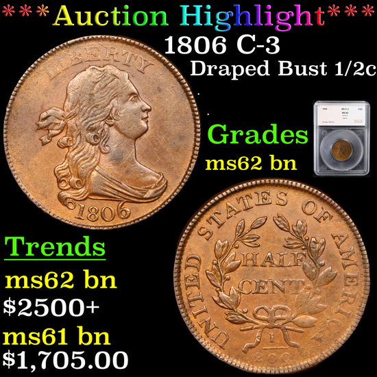***Auction Highlight*** 1806 C-3 Draped Bust Half Cent 1/2c Graded ms62 bn By SEGS (fc)
