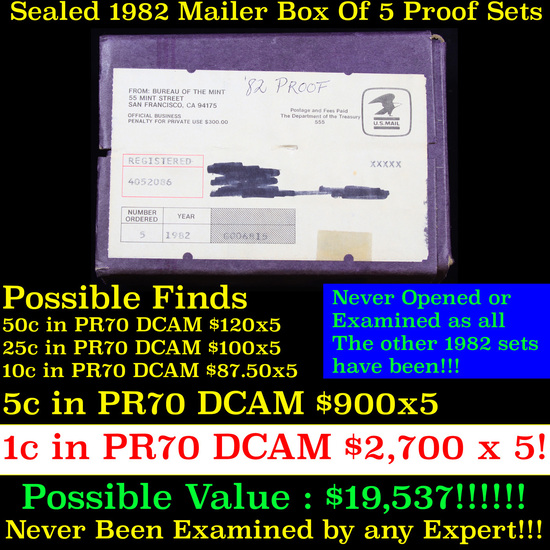 ***Auction Highlight*** Original sealed box 5- 1982 United States Mint Proof Sets (fc)
