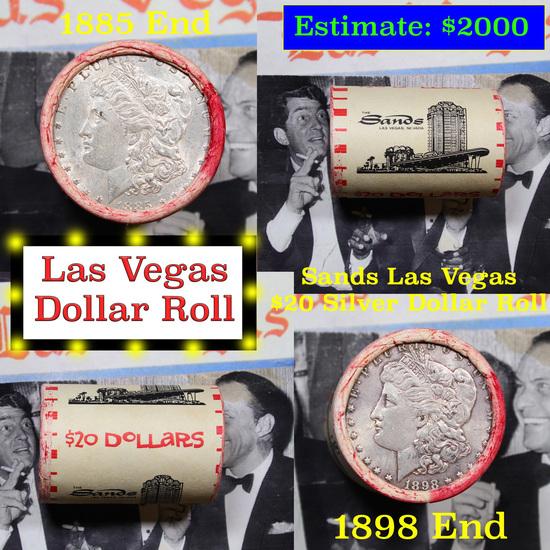 ***Auction Highlight*** Full Morgan/Peace Casino Las Vegas Sands silver $1 roll $20, 1885 & 1898 end