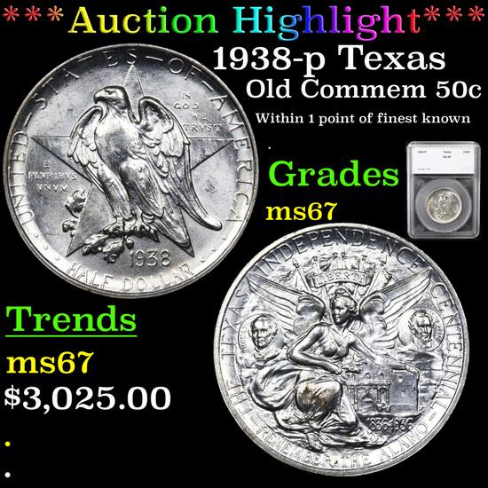 ***Auction Highlight*** 1938-p Texas Old Commem Half Dollar 50c Graded ms67 By SEGS (fc)