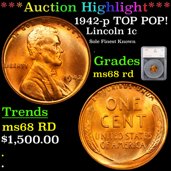 ***Auction Highlight*** 1942-p TOP POP! Lincoln Cent 1c Graded ms68 rd By SEGS (fc)