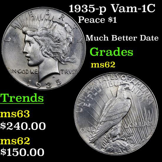 1935-p Vam-1C Peace Dollar $1 Grades Select Unc