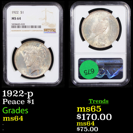 NGC 1922-p Peace Dollar $1 Graded ms64 By NGC