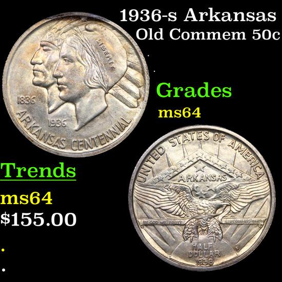 1936-s Arkansas Old Commem Half Dollar 50c Grades Choice Unc