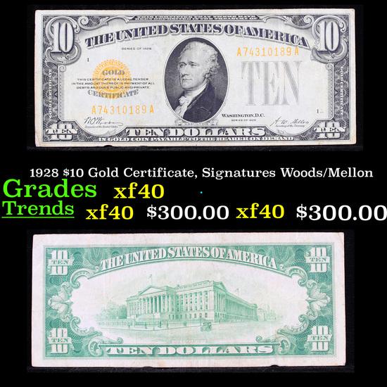 1928 $10 Gold Certificate, Signatures Woods/Mellon Grades xf