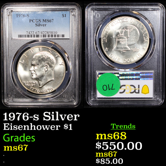1976-s Silver Eisenhower Dollar $1 Graded ms67 By PCGS