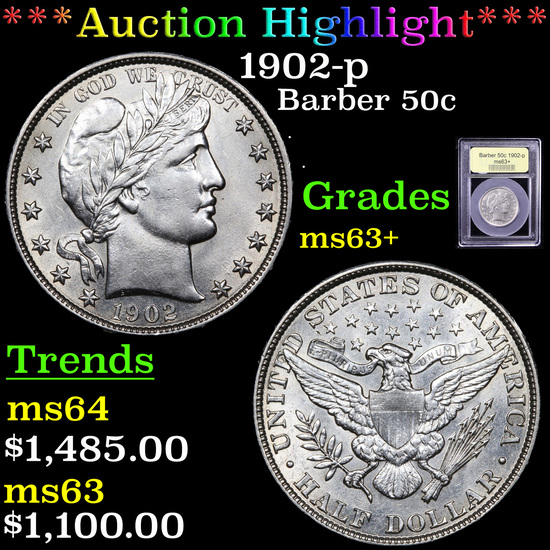 ***Auction Highlight*** 1902-p Barber Half Dollars 50c Graded Select+ Unc By USCG (fc)