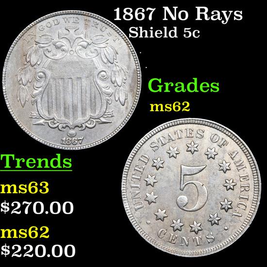 1867 No Rays Shield Nickel 5c Grades Select Unc