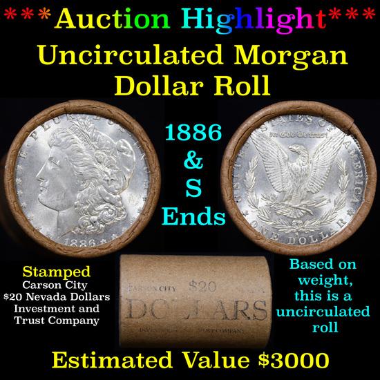 ***Auction Highlight*** 1886 & S Uncirculated Morgan Dollar Shotgun Roll, 20 coins (fc)