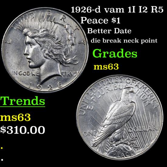 1926-d vam 1I I2 R5 Peace Dollar $1 Grades Select Unc