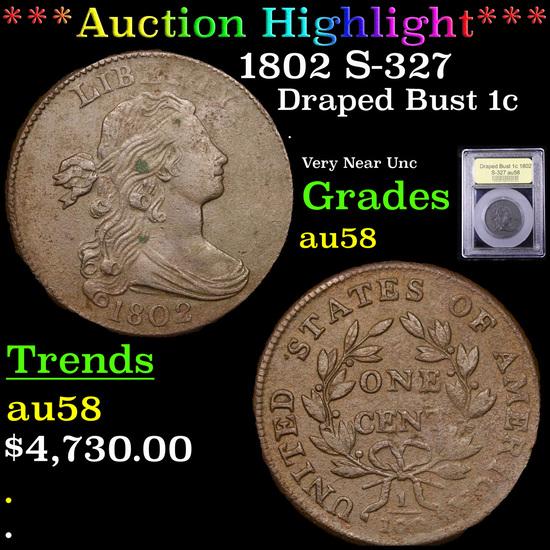 ***Auction Highlight*** 1802 S-327 Draped Bust Large Cent 1c Graded Choice AU/BU Slider By USCG (fc)