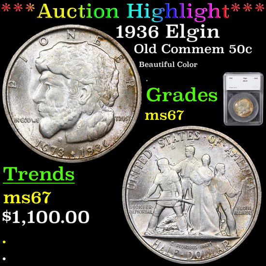 ***Auction Highlight*** 1936 Elgin Old Commem Half Dollar 50c Graded ms67 By SEGS (fc)
