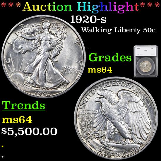 ***Auction Highlight*** 1920-s Walking Liberty Half Dollar 50c Graded ms64 By SEGS (fc)