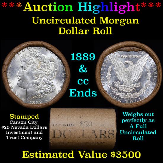 ***Auction Highlight*** 1889 & CC Uncirculated Morgan Dollar Shotgun Roll (fc)
