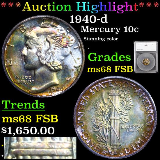 ***Auction Highlight*** 1940-d Mercury Dime 10c Graded ms68 FSB By SEGS (fc)