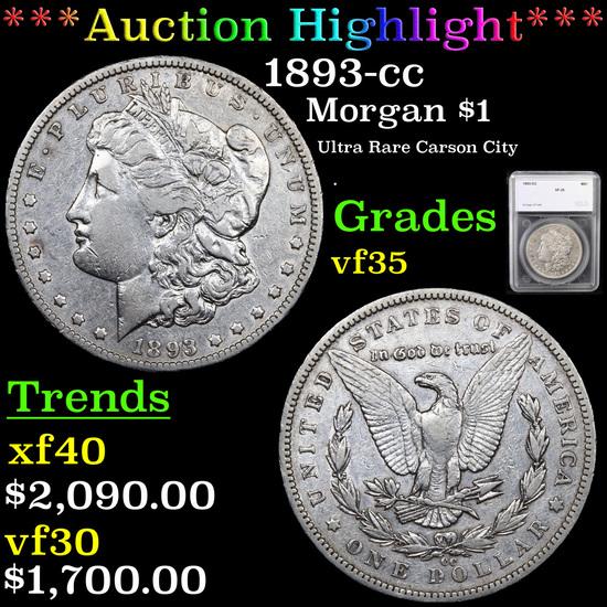 ***Auction Highlight*** 1893-cc Morgan Dollar $1 Graded vf35 By SEGS (fc)