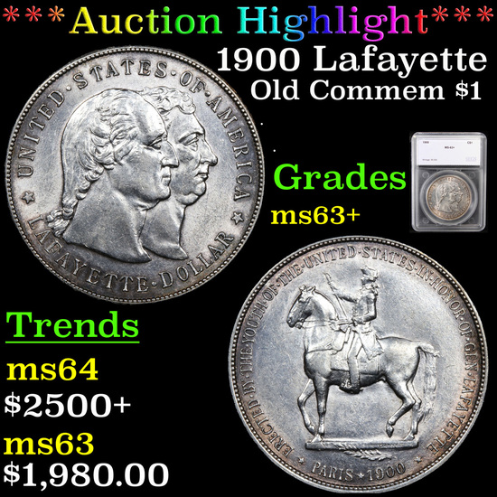 ***Auction Highlight*** 1900 Lafayette Lafayette Dollar $1 Graded ms63+ By SEGS (fc)