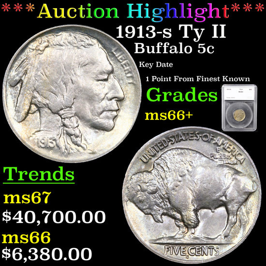 ***Auction Highlight*** 1913-s Ty II Buffalo Nickel 5c Graded ms66+ By SEGS (fc)
