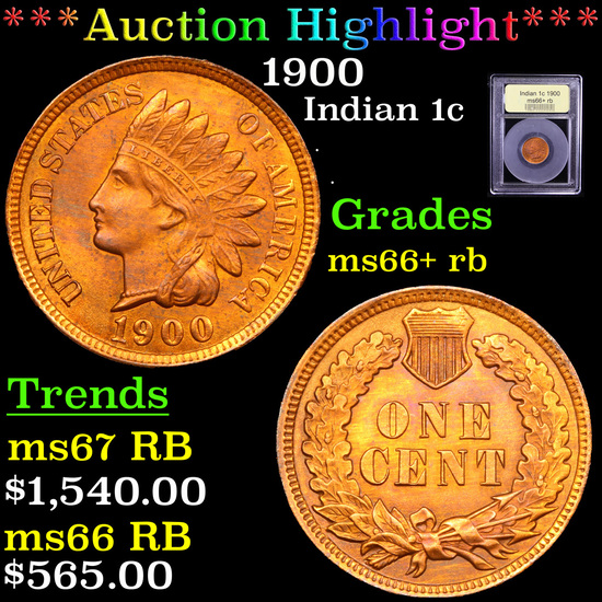 ***Auction Highlight*** 1900 Indian Cent 1c Graded GEM++ RB By USCG (fc)
