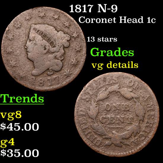 1817 N-9 Coronet Head Large Cent 1c Grades vg details
