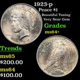 1923-p Peace Dollar $1 Grades Choice+ Unc