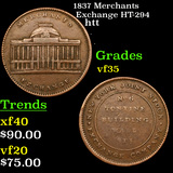 1837 Merchants Exchange HT-294 Hard Times Token 1c Grades vf++