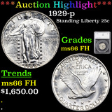 ***Auction Highlight*** 1929-p Standing Liberty Quarter 25c Graded ms66 FH By SEGS (fc)