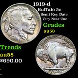 1919-d Buffalo Nickel 5c Grades Choice AU/BU Slider