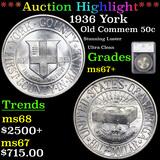 ***Auction Highlight*** 1936 York Old Commem Half Dollar 50c Graded ms67+ By SEGS (fc)