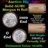 ***Auction Highlight***  AU/BU Slider Brinks Shotgun Morgan $1 Roll 1900 & O Ends Virtually UNC (fc)