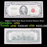 1966A $100 Red Seal United States Note Grades vf++