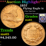 ***Auction Highlight*** 1857 Flying Eagle Cent 1c Graded GEM Unc By USCG (fc)