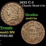 1832 C-3 Classic Head half cent 1/2c Grades Select Unc BN