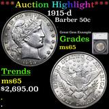 ***Auction Highlight*** 1915-d Barber Half Dollars 50c Graded ms65 By SEGS (fc)