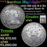 ***Auction Highlight*** 1800 BB-188 B-8 R3 Draped Bust Dollar $1 Graded xf45 By SEGS (fc)