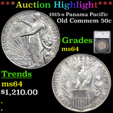 ***Auction Highlight*** 1915-s Panama Pacific Old Commem Half Dollar 50c Graded ms64 By SEGS (fc)