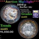 ***Auction Highlight*** 1894-p Barber Dime 10c Graded GEM Unc By USCG (fc)
